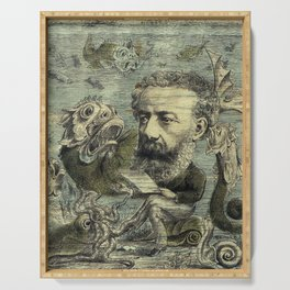 Vintage Jules Verne Periodical Cover Serving Tray