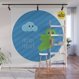 Friends Forever. Eire Bear and a cloud. Wall Mural