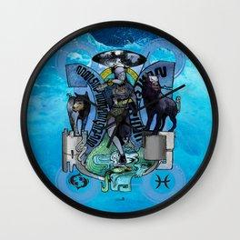 "Ars Tarot of the 12 Zodiac: ""Pisces - The Moon"" Wall Clock"