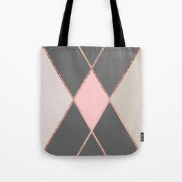 Modern pastel pink gray color block rose gold stripes Tote Bag