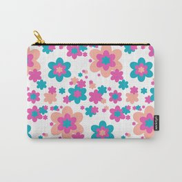 Teal Blue, Hot Pink, and Coral Floral Carry-All Pouch