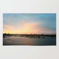 stockholm Area & Throw Rugs featuring Stockholm Sunset by Judith Altman