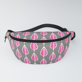 Beech Leaf Pattern, Fuchsia Pink and Silver Gray Fanny Pack