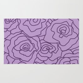Lavender Dreams Roses - Light with Dark Outline - Color Therapy Rug