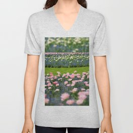 Pink Foxtrot tulips with blue forget-me-nots mix Unisex V-Neck