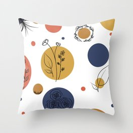 Spots and Floral Throw Pillow