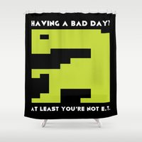 video games Shower Curtains featuring Worst Video Game Ever by Silvio Ledbetter