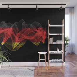 Germany Smoke Flag on Black Background, Germany flag Wall Mural