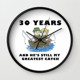 Anniversary 30 Couple Fishing Wife Husband Gift Wall Clock