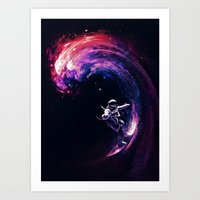 surfing Art Prints featuring Space Surfing by nicebleed