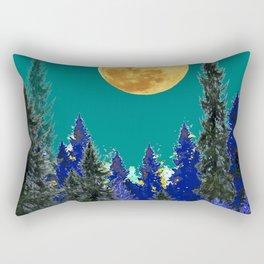 BLUE FOREST TEAL SKY MOON LANDSCAPE ART Rectangular Pillow