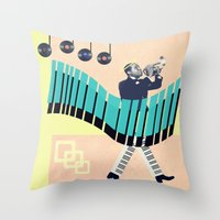 louis armstrong Throw Pillows featuring St Louis by Liall Linz