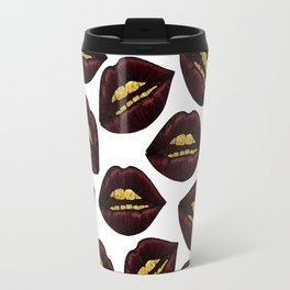 Red Black Lips and Faux Sparkly Gold Grill Teeth Travel Mug