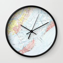 Vintage Map of Ocean City NJ (1952) Wall Clock