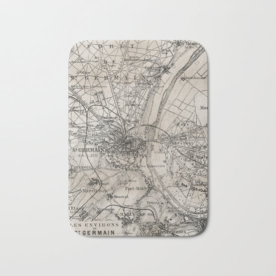 Vintage Paris old retro map Bath Mat