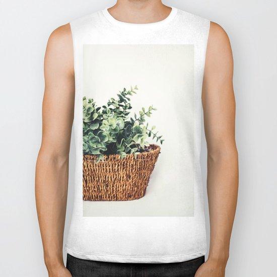 Plant On White Biker Tank
