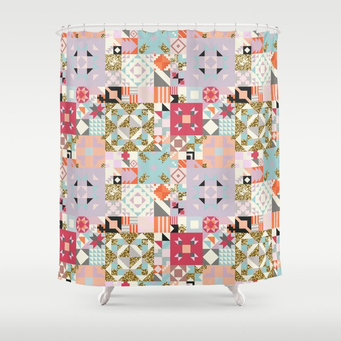 Moroccan Quilt Pattern Shower Curtain