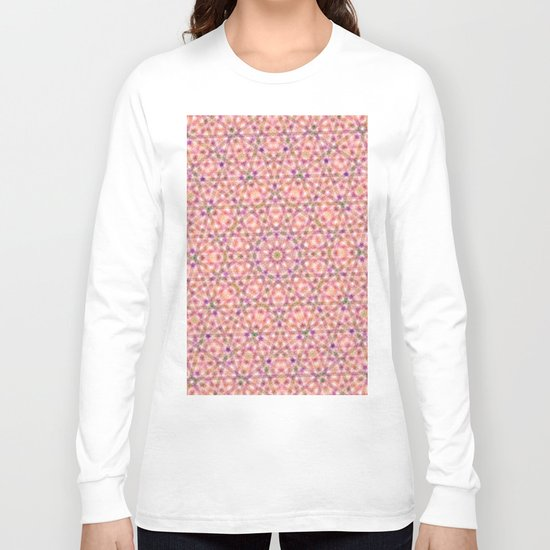 Pink Purple and Green Stripes and Triangle Pattern Long Sleeve T-shirt