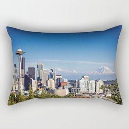 Seattle Overlook with Mt Rainier Rectangular Pillow