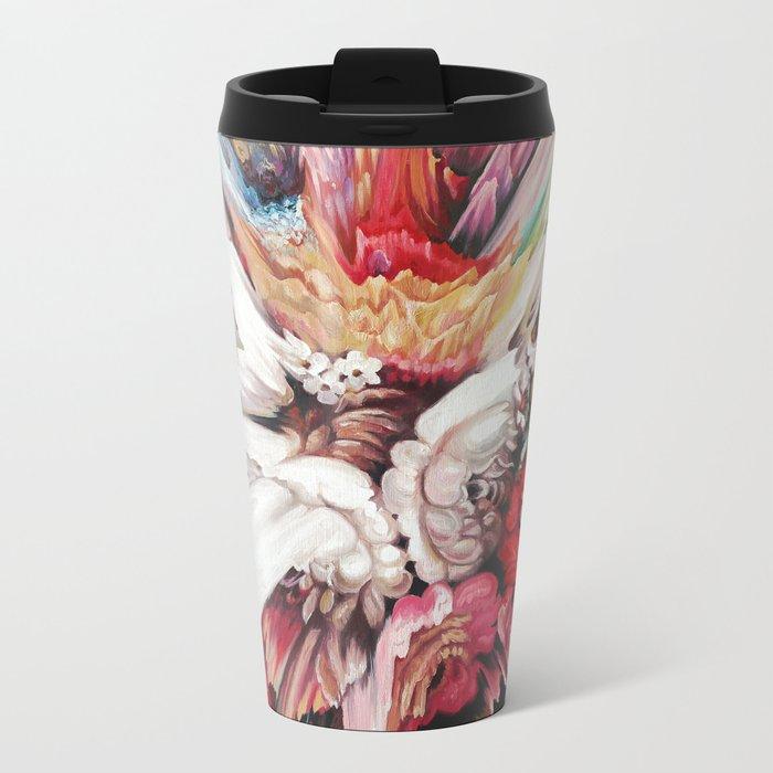 Floral Glitch II Metal Travel Mug