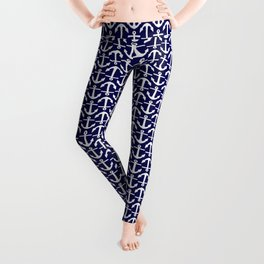 Maritime Nautical Blue and White Small Anchor Pattern Leggings