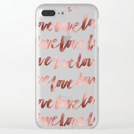 Rose Gold Love Script Clear iPhone Case