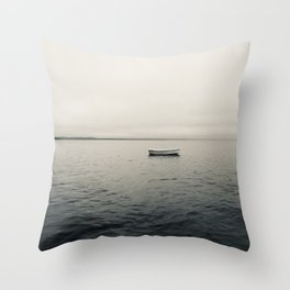 Lone Boat on Lake Throw Pillow