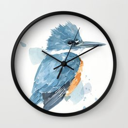 Belted Kingfisher watercolor Wall Clock