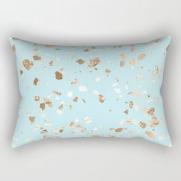 Blue Gold Modern Terrazzo Rectangular Pillow
