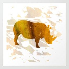 Colorful Art Rhino Abstract Yellow Art Print