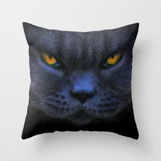 Very Cross Cat Throw Pillow
