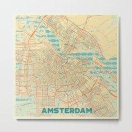 Amsterdam Map Retro Metal Print