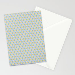 Yellow Sky Blue Cube Pattern Stationery Cards