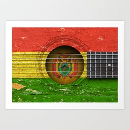 Old Vintage Acoustic Guitar with Bolivian Flag Art Print