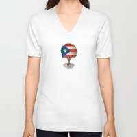 puerto rico V-neck T-shirts featuring Vintage Tree of Life with Flag of Puerto Rico by Jeff Bartels