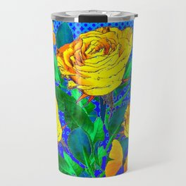 YELLOW BUTTERFLIES, ROSES, & BLUE OPTICAL ART Travel Mug