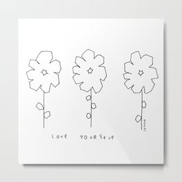 Words from Flowers - black and white flowers illustration Metal Print