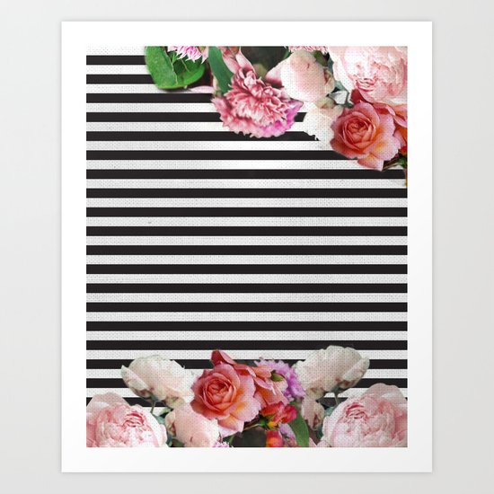 stripes and flowers Art Print
