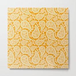 Paisley (White & Orange Pattern) Metal Print