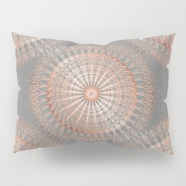 Rose Gold Gray Mandala Pillow Sham