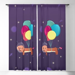 Galaxy Dog with balloons Blackout Curtain