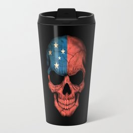 Dark Skull with Flag of Samoa Travel Mug