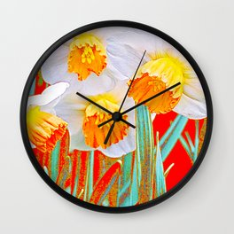 GOLDEN SPRING DAFFODILS RED GARDEN Wall Clock