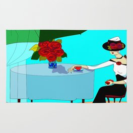 A Fashionable White Haired Lady having Coffee Outdoors Cafe Rug
