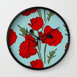 Red poppies pattern Wall Clock
