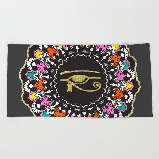 Eye of Horus Mandala Beach Towel