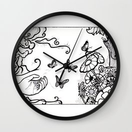 Releasing Butterflies Wall Clock