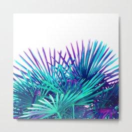 Cool modern teal purple gradient artistic palm tree tropical plants Metal Print