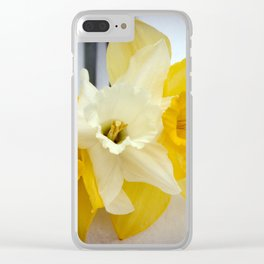 Daffodils resting in the snow after a late London snowstorm in March Clear iPhone Case