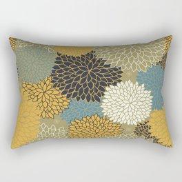 Floral Abstract Pattern Mustard Yellow, Navy, Blue Flowers Rectangular Pillow
